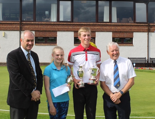 Robert Kay, Manager of Nairn Dunbar GC, Breagha MacKintosh, Steven Pears and Gordon Fyfe, President of IGC